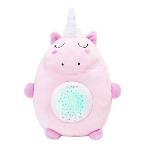 Bubzi Co Einhorn Baby Spielzeug Spieluhr Baby Weißes Rauschen Sound machine – Baby Spielzeug und Baby Nachtlicht mit Musik- Makelloser Klang – Baby Einschlafhilfe – Babyparty Geschenk für Mädchen