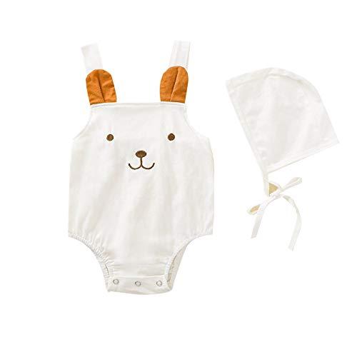 sunnymi Pelele para bebé de 0 a 24 meses, diseño de dibujos animados en 3D, body + sombrero. Blanco 6-12 Meses