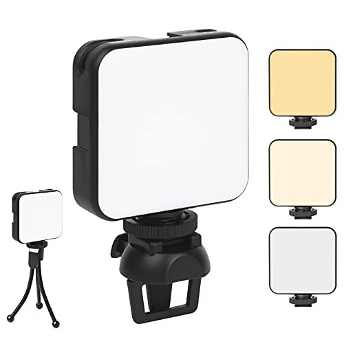 Vicloon LED Videoleuchte, Mini Dimmbare Videolicht mit Clip und Ständer, Wiederaufladbar, Laptop-Licht, Kamera Licht Dauerlicht, Tragbar LED Fotolicht für Make-up, Fotografie, Vlogging