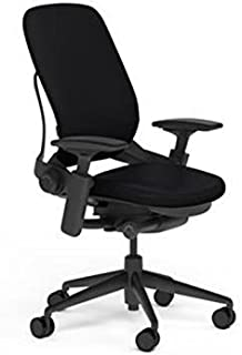 Steelcase Leap Desk Chair Black Leather Seat and Back - Highly Adjustable Arms - Black Frame and Base - Soft Dual Wheel Hard Floor Casters