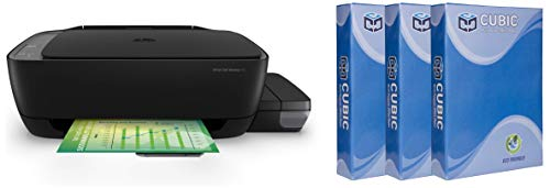 HP 410 All-in-One Wireless Ink Tank Color Printer with Voice-Activated Printing(Compatible with Alexa and Google Voice- Assistant) with Cubic A4 75gsm Copier Paper - 500 Sheets, Pack of 3