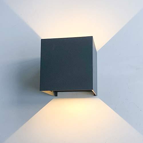 12W LED Wandleuchte Innen/Aussen Modern, Wandbeleuchtung mit einstellbar Abstrahlwinkel Up Down Design, IP 65 Wasserdichte Außenwandleuchten WandLampe 2800K Warmweiß (Dunkelgrau)