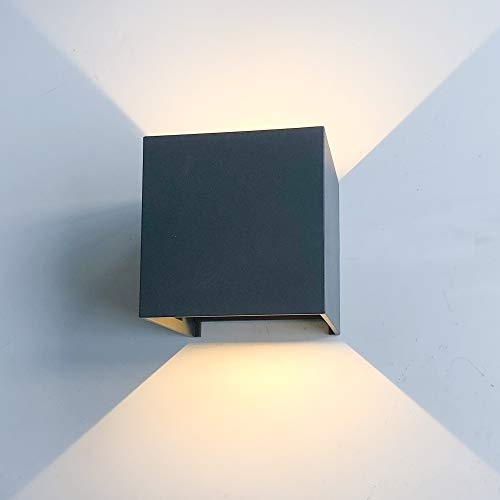 12W LED Wandleuchte Innen/Aussen Modern, Wandbeleuchtung mit einstellbar Abstrahlwinkel Up Down Design, IP 65 Wasserdichte Außenwandleuchten WandLampe 3000K Warmweiß (Dunkelgrau)