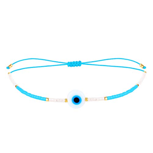 KELITCH New Pearl Beach Bracelets Miyuki Pearls Friendship Bracelets for Women-Light Blue D