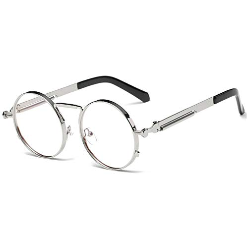 JiXuan Steampunk Occhiali da sole Occhiali da sole Uomo Donna Occhiali da sole Rotondi Occhiali da Vista Retro Circle Vintage Metal