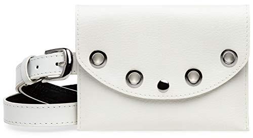 Caspar TS1062 kleine elegante Damen Gürteltasche mit Gürtel, Farbe:weiss, Gürtelgröße:M [Körperumfang 76-88 cm]