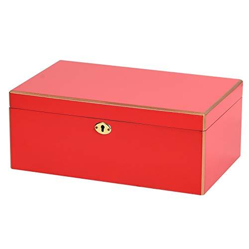 Bigpea Doppelte Aufbewahrungsbox Kann Ring Halskette Ohrringe Schmuck Flanell Aufbewahrungsbox Gl?Ser Uhr Display Box Rot Setzen