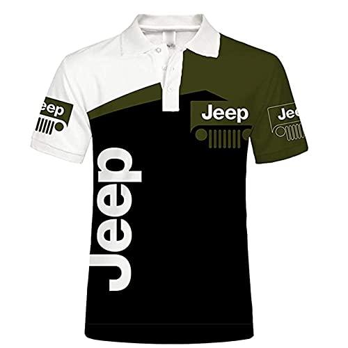 Xilinmen Polo da Uomo, Felpa Casual con Stampa Logo Jeep 3D Digitale, Maglietta Manica Corta da Uomo, Polo Estiva Manica Corta da Uomo Unisex,Verde,L/Large