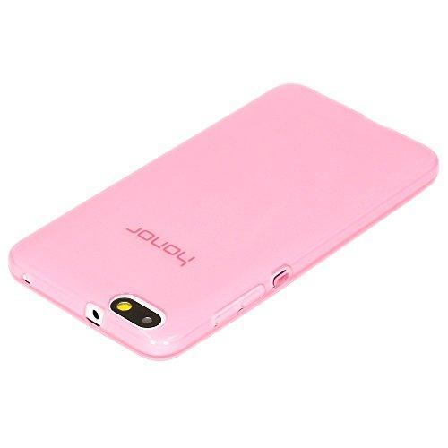 NALIA Handyhülle kompatibel mit Huawei Honor 4X, Soft Slim TPU Silikon Case Cover Hülle Crystal Schutzhülle Dünn Durchsichtig, Etui Handy-Tasche Back-Cover Phone Schutz Bumper - Transparent/Pink - 2