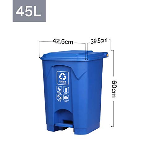Fantastic Deal! LXF Outdoor Waste Bins Trash can, Kitchen Pedal-Type Recyclable Bucket with lid Blac...