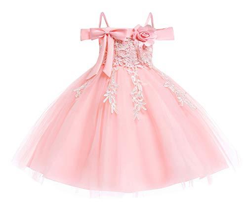 DEMU baby meisjesjurk doopjurk feestelijke jurk bruiloft partyjurk feestjurk 110 roze