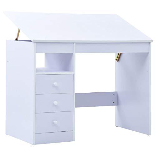 vidaXL Kinderschreibtisch mit 3 Schubladen Kippbar Neigungsverstellbar Schreibtisch Schülerschreibtisch Computertisch Kippbar Weiß Spanplatte