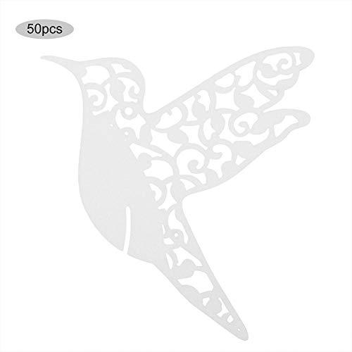 AUNMAS 50pcs Tarjetas de Lugar de Boda Forma de pájaro Boda Nombre Hueco Tarjetas de Lugar Nombre de Mesa Personalizado Recepción Decoración Tarjetas de Invitados de Boda para Copa(1#)