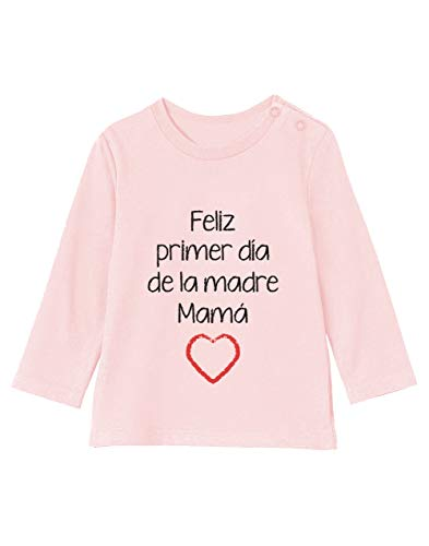 Camiseta bebé Unisex Manga Larga - Feliz Primer Día de la Madre - para Mamá en su Día 3-6M 60/66cm Light Pink