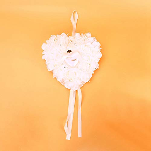 Scatola portafedi Rosa Bomboniere Cuore Portafedi Federa Portagioie con Elegante Raso Flora Confezione Regalo Cuscino Porta Anelli Decorazione Matrimonio