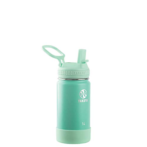 Takeya Kids Insulated Water Bottle w/Straw Lid, 14 Ounces, Seafoam