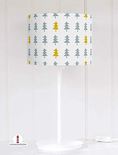 Lampenschirm für Tischlampe Wald Bäume Graublau und Senfgelb auf Hellgrau aus Baumwolle - alle Farben möglich