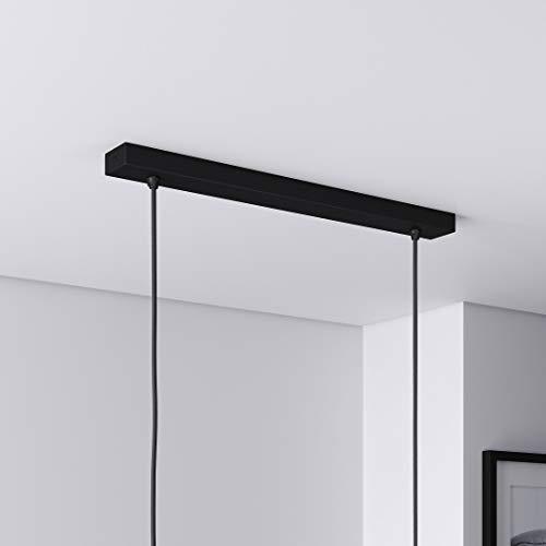 Baldachin für Lampe Rechteckig, Abzweigdose mit 2 Kabelauslässen (L 50 x H 2.5 x B 5 cm), SCHWARZ - ideal für Esstisch, inkl. WAGO-Klemmen