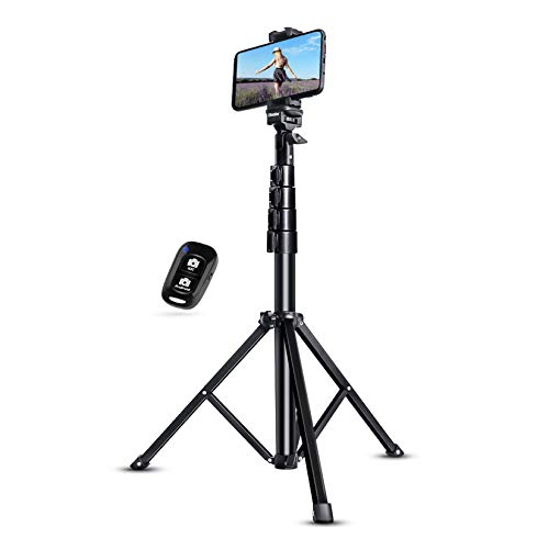 "UBeesize Selfie Stick Tripod, 51"" Extendable Tripod Stand with Bluetooth Remote for Cell Phones, Heavy Duty Aluminum, Lightweight"