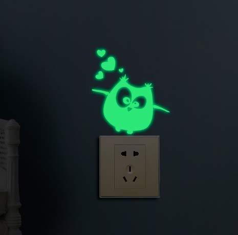 NoBranded vinilos de Pared Decorativos Iluminación de Dibujos Animados búho Interruptor Etiqueta de la Pared Dormitorio Sala de Estar niños decoración del hogar habitación del bebé Etiqueta Oscura