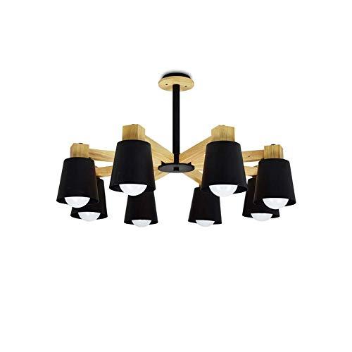 Candelabro de madera moderno 8 luces LED E27 Luz colgante para sala de estar Pasillo Balcón Colgante de metal ajustable Light-blackC 80 * 46cm