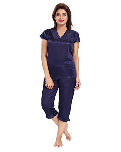 Noty Girl's Satin Solid Night Suit Set (Pack of 1) (RSNS1_Navy Blue_Medium)