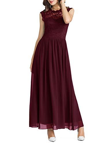 MuaDress 6056 Damen Retro Floral Lace Brautjungfernkleider Rüschen Hochzeit Maxi Kleid Burgundy M