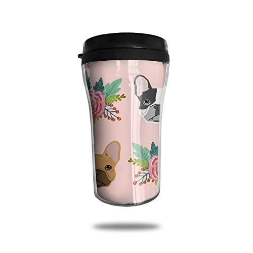 FTRGRAFE Pink Florals French Bulldog Pattern Travel Coffee Mug 3D Printed Portable Vacuum Cup,Insulated Tea Cup Water Bottle Tumblers for Drinking with Lid 8.54 Oz (250 Ml)