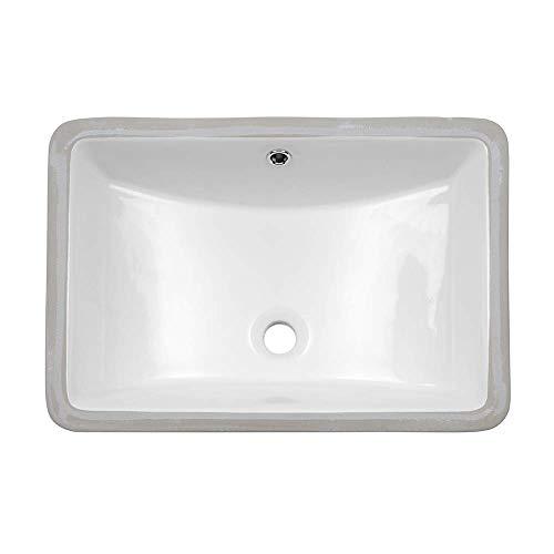 Undermount Bathroom Sink - Lordear 21 inch Rectangle Bathroom Sink Undermount White Porcelain Ceramic Lavatory Bathroom Vanity Sink with Overflow