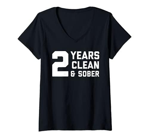 Mujer Sober AF 2 Años Camisa - Recuperación de Adicciones Dos Aniversarios Camiseta Cuello V