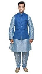 Mag Mens Sky Blue Matching Silk Kurta Churidhar With Sky Blue Joot Waistcoat