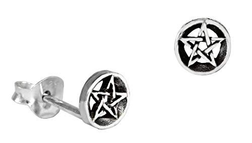 WINDALF Pagan Ohrstecker RICA Ø 0.5 cm Kleine Pentagramme Schutz Amulett Ohrschmuck 925 Sterlingsilber
