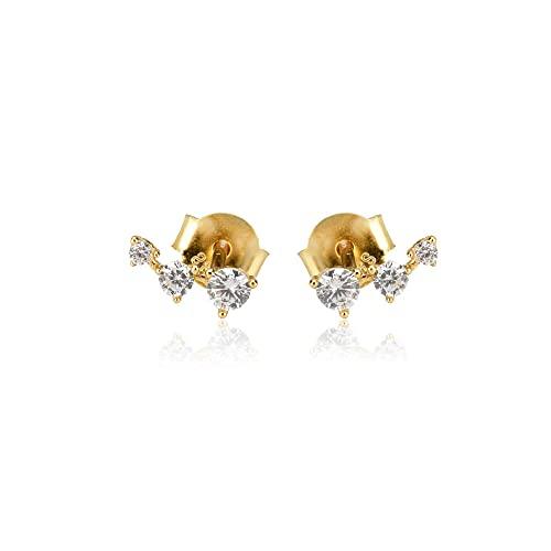 925 Plata Oro Mini Stud Pendiente Circón Moda de lujo Piercing Pendiente Moda Mujer Regalo Joyas de boda-Oro