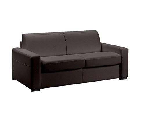 Canapé lit 3 Places Master Convertible Ouverture RAPIDO 140 cm Cuir Eco Marron Matelas 18 CM Inclus