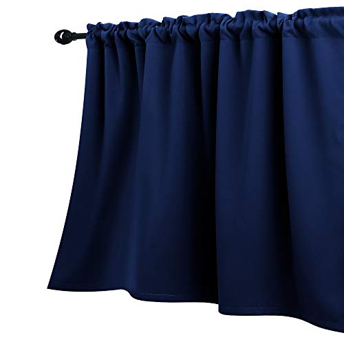 Navy Blue Valances 18 Inch Length for Small Basement Window Curtains Valances Only Rod Pocket Dark Blue Room Darkening Thick Short Blackout Solid Valences for Kitchen Bathroom