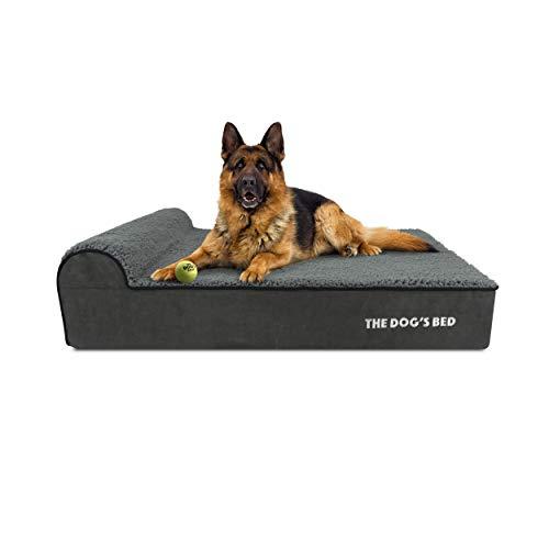 The Dog's Bed Orthopädisches Hundebett, groß, Plüsch, 101 x 64 cm, wasserdicht, Memory-Schaumstoff, Grau