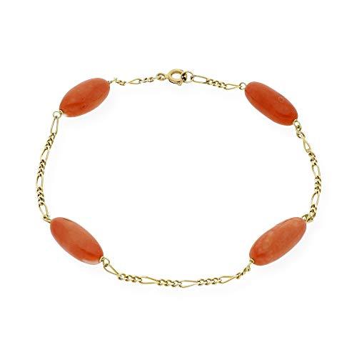 zendel gioielli braccialetto in oro giallo con coralli ovali