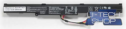 LI-TECH Batteria Compatibile 2600mAh per ASUS VIVOBOOKPRO N752VX-GC234T 14.4V 14.8V 38Wh