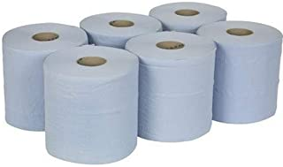 Active 6 x Blue Centrefeed Towels Roll 2 Ply Embossed Paper Tissue Gym Wall Mounted Rolls