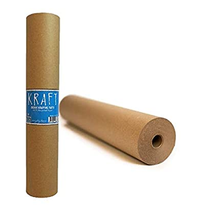 "Kraft Brown Wrapping Paper Roll 24"" x 1,800"" (150 ft) – 100% Recyclable Craft Construction and Packing Paper for Use in Moving, Bulletin Board Backing and Paper Tablecloths"
