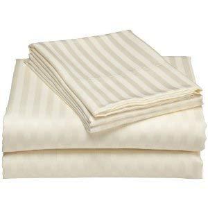 Victoria Bedding - Juego de sábanas de 4 Piezas (1 sábana Bajera, 1 sábana encimera, 2 Fundas de Almohada), 35 cm de Profundidad, Ivory Stripe, Euro Double IKEA (140cmx200cm)