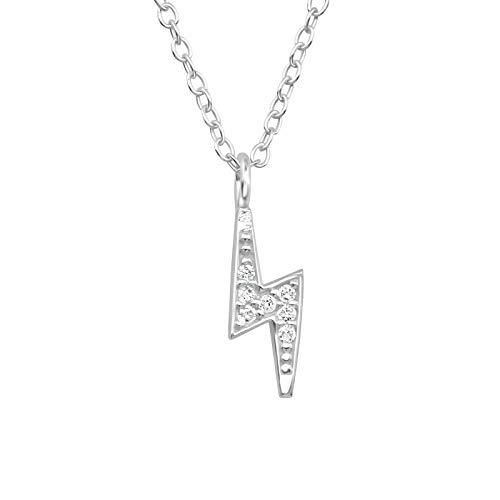De Rose & Silver Company vrouwen 925 sterling zilver zirkonia stenen bliksem ketting 45cm / 17.7
