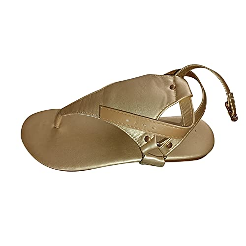 URIBAKY - Sandalias planas para mujer con puntera abierta, sandalias de playa para mujer, con hebilla, dorado, 37 EU