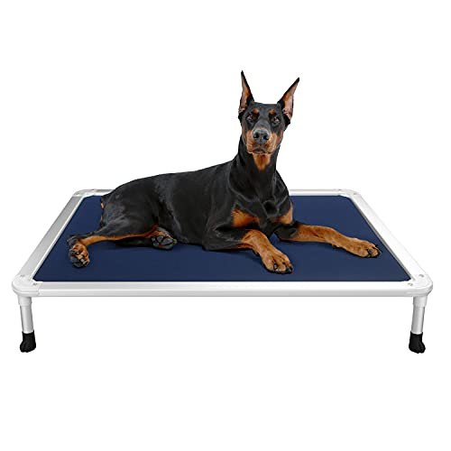 Veehoo Chew Proof Elevated Dog Bed - Cooling Raised Pet Cot - Silver Aluminum Frame and Durable Textilene Mesh Fabric, Unique Designed No-Slip Feet for Indoor or Outdoor Use, Blue, Large