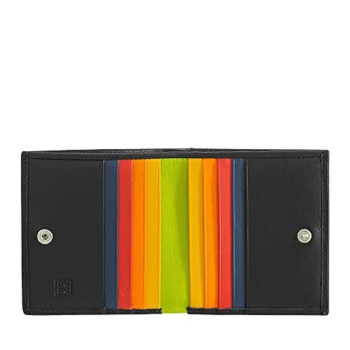 portafoglio uomo minimal DUDU Portafoglio RFID di pelle multicolore porta carte e monete Nero