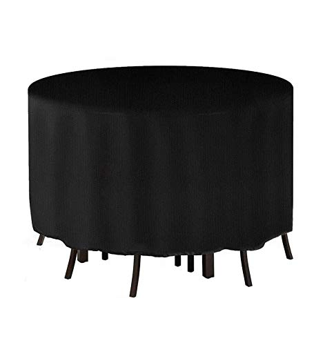 YWJH Black 420D Heavy Duty Oxford Fabric Round Garden Table Cover Garden Furniture Covers with 4 Windproof Buckles 128x71CM