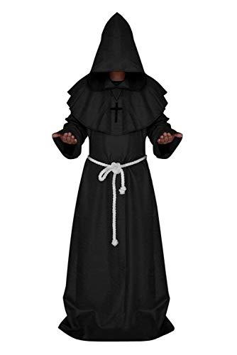 Disfraz de monje medieval con capucha, monje renacentista y sacerdote de Halloween para disfraz de café/negro/blanco/rojo/azul