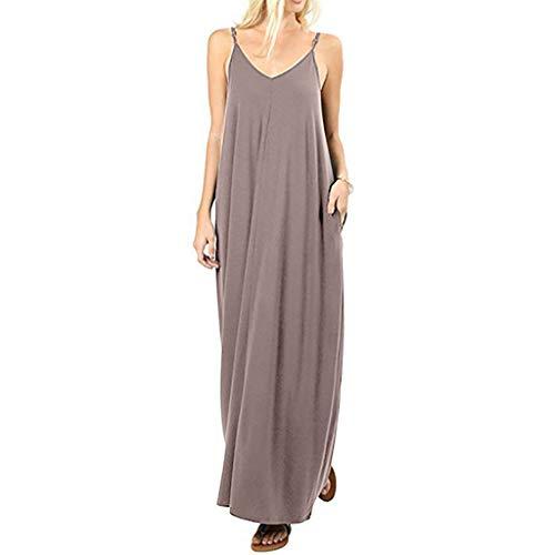 Wawer jurk dames model strandjurk zomer riempje jurk katoen V-hals explosies eenkleurig naden neckholder jurk lusjurk maxi-jurk avondparty jurk strandkleding XX-Large kaki