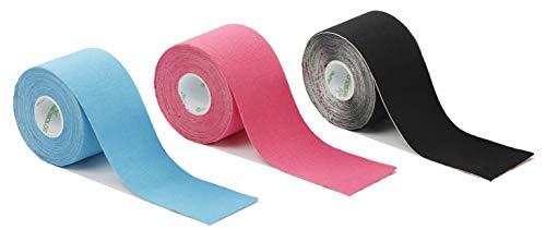3er 1x blau 1x pink 1x schwarz NASARA Kinesiologie Tape - 3