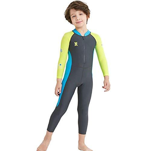 ZMJY Einteiliger Langer Kinder-Neoprenanzug, schnell trocknende Badebekleidung für Jungen und Mädchen, geeignet zum Tauchen, Surfen, Schwimmen, Treiben,Gray,L
